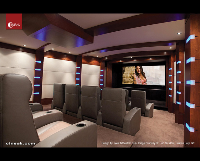 Media room and private cinema seats by cineak modern for Furniture for media room