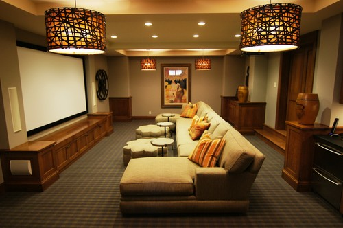 Uttermost Alita pendants help you get this warm, stylish media room look! Photo credit: Traditional Home Theater by Minneapolis Interior Designers & Decorators Baker Court Interiors