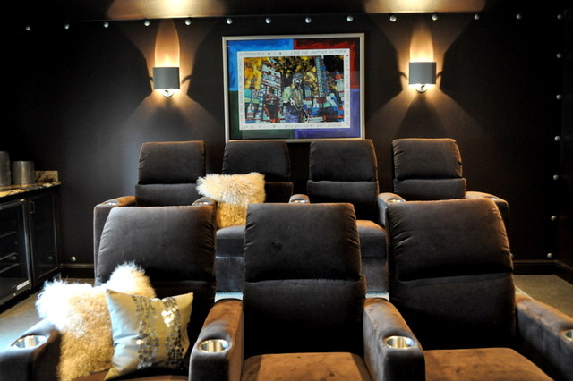 Media Room by Paige Merchant Designs home-theater