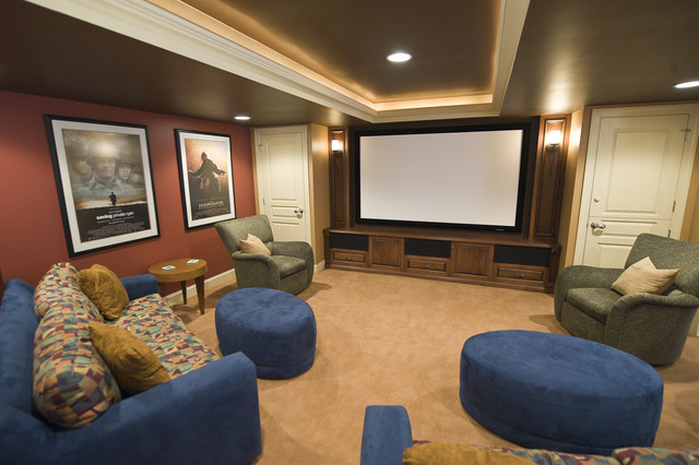 media room in upper holland, pa - contemporary - home theater