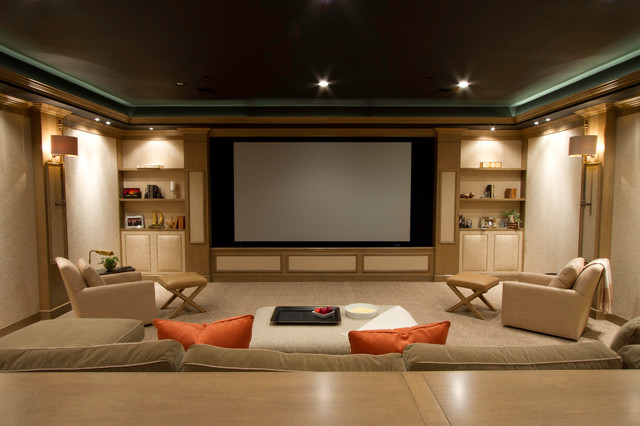 Inspiration For A Timeless Beige Floor Home Theater Remodel In Dc Metro With Projector Screen