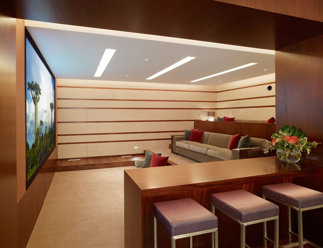 modern media room by Rockefeller Partners Architects