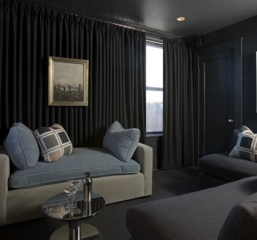 Nice Media Room Transitional Home Theatre