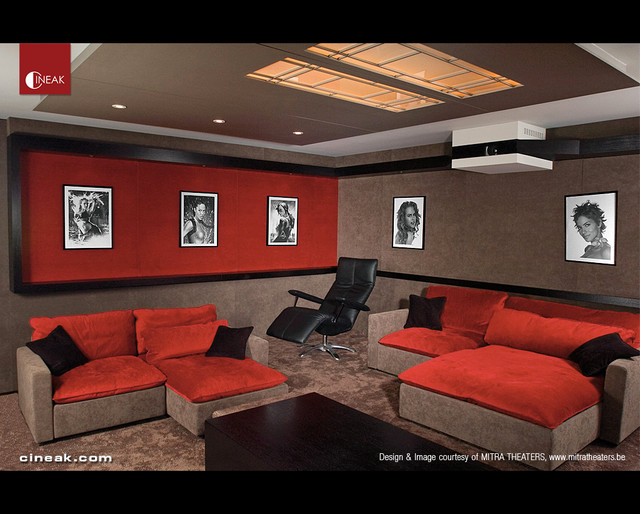 Media Room With Cineak Seatscontemporary Home Theater