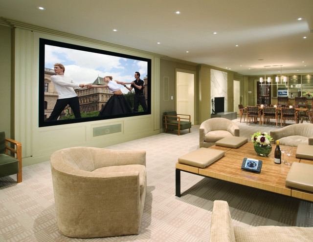 Photo Of A Traditional Home Cinema In New York With Projector Screen