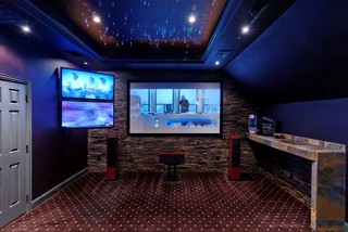 Media room with starlit ceiling traditional home theatre dallas by direct home design - Home theater design dallas inspired ...