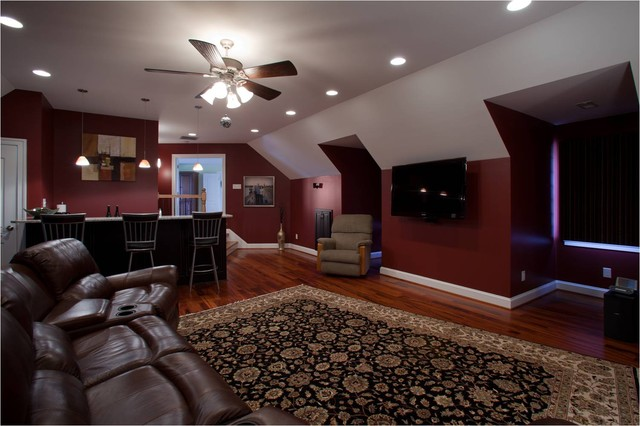 family room over garage decorating ideas - Media Room with Wet Bar Traditional Home Theater