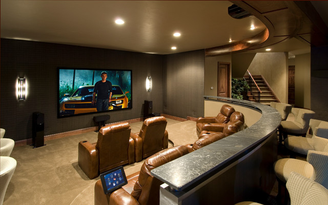 Media rooms and theaters for Home theater basement design ideas