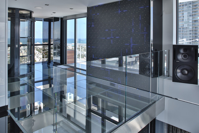 Modern bathroom led lighting - Miami Penthouse Mancave Gameroom Led Wall Panels Contemporary Home