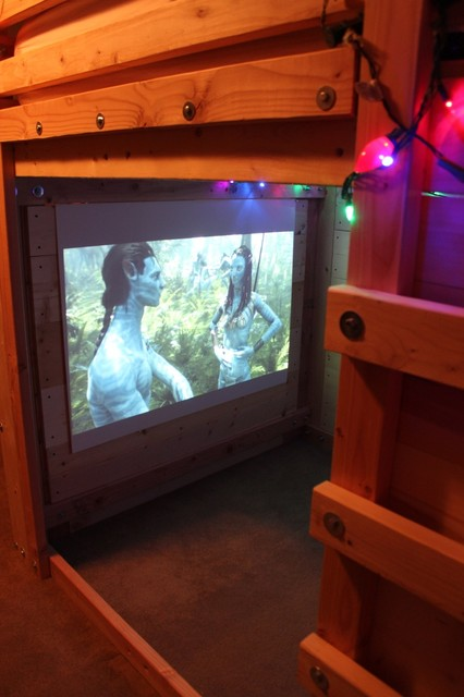 Man Cave With Bed : Micro man cave rustic home theater charleston by