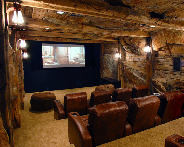 Rustic Man Cave Sign : Miners home theaters rustic theater cleveland by man