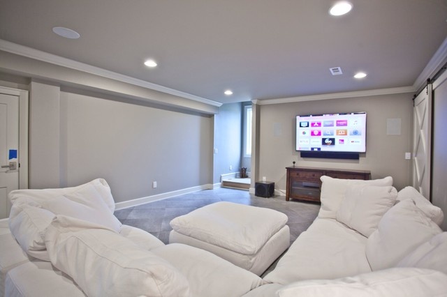 Home theater - transitional home theater idea in Other