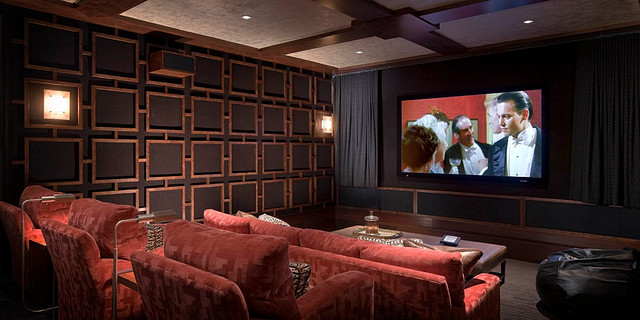 Modern Desert Home Traditional Theater Orange