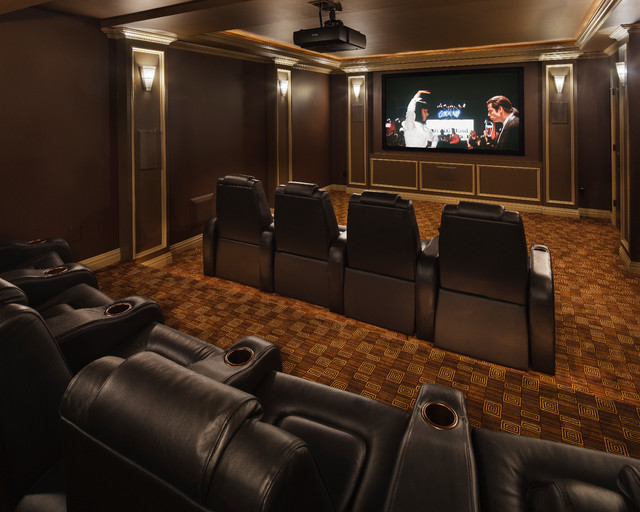 Modern Marvel Traditional Home Theater New York By