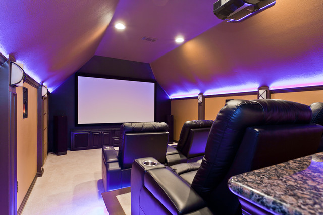 Modern Media Spaces Contemporary Home Theater Dallas