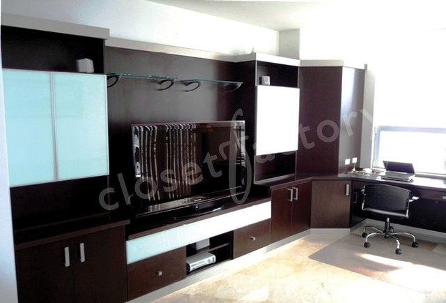 modern sleek dark wood wall unit for entertainment and office