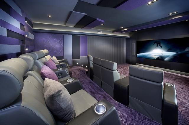 montreal home theater contemporain salle de cin ma montr al par maria deschamps design. Black Bedroom Furniture Sets. Home Design Ideas