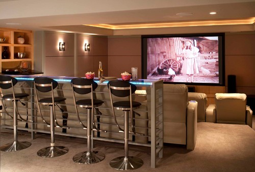 Led Tape Light Or Rope Can Be Used In Coves And Ceiling Treatments Dimmed Contemporary Media Room