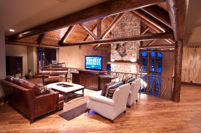 Mountain Rustic Retreat rustic-home-theater
