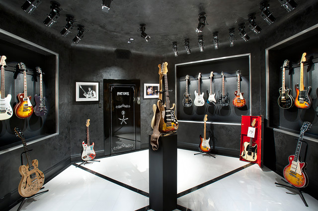 Music Room - Guitar Display - Mediterranean - Home Theater - Phoenix - by Desert Star Construction