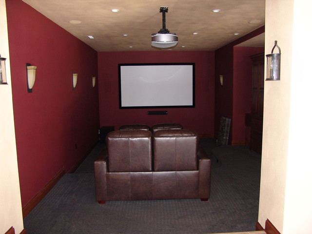 Small Contemporary Open Concept Home Theatre In Other With Red Walls Carpet And A Projector