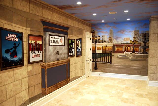 New york broadway themed mural by tom taylor of wow for Broadway wall mural