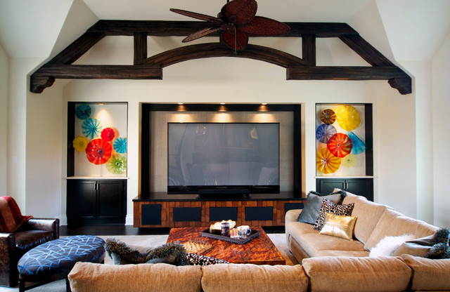 North Dallas Eclectic Renovation contemporary-home-theater