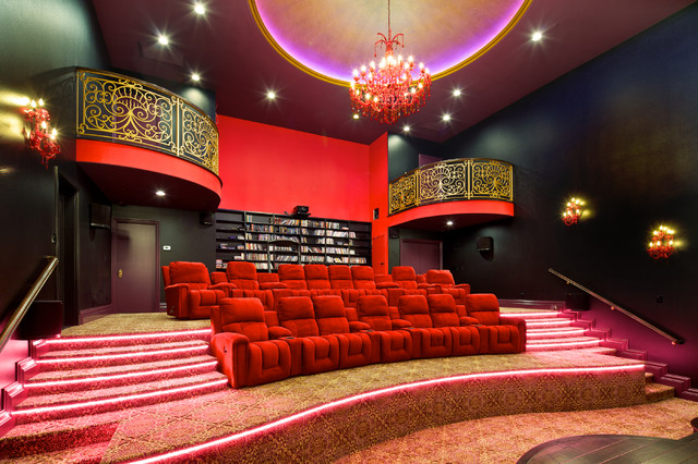 North San Diego County Theater & Game Room - Mediterranean - Home ...