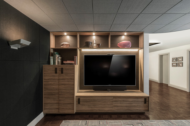 Inspiration for a contemporary home theater remodel in Toronto