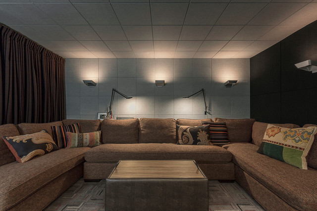 Example of a trendy home theater design in Toronto