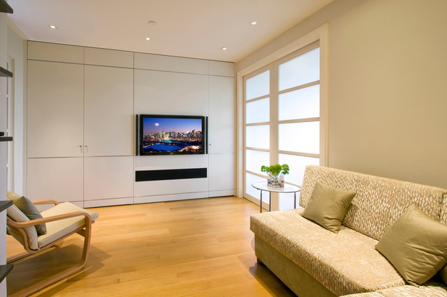 On wall tv with leon sound bar - Bar built into wall ...