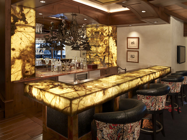 Onyx Lit Bar Rustic Home Theater Minneapolis By