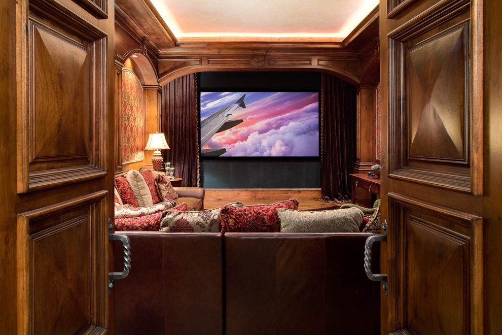 Home theater - traditional home theater idea in Dallas