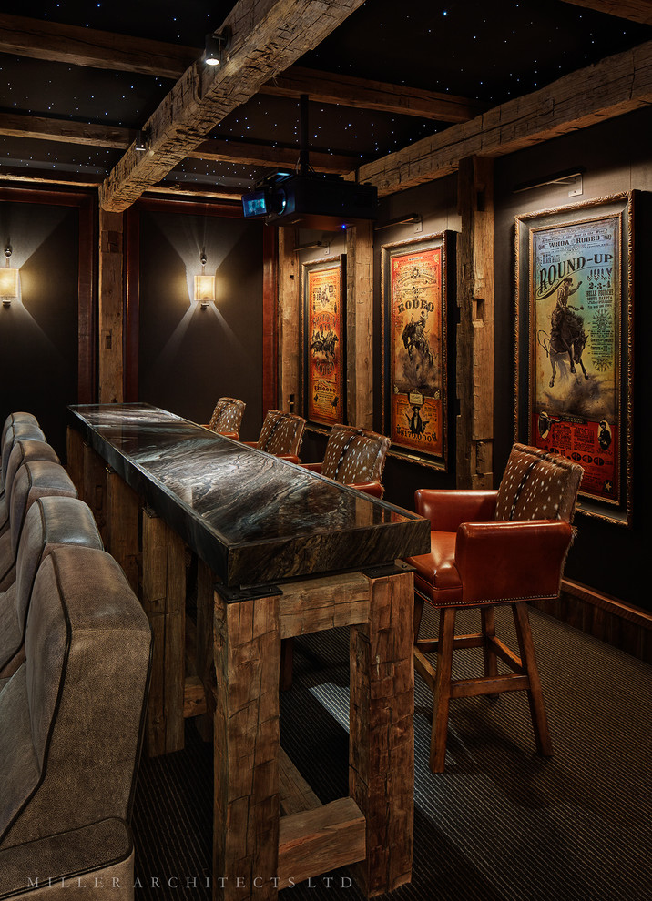Home theater - rustic home theater idea in Other