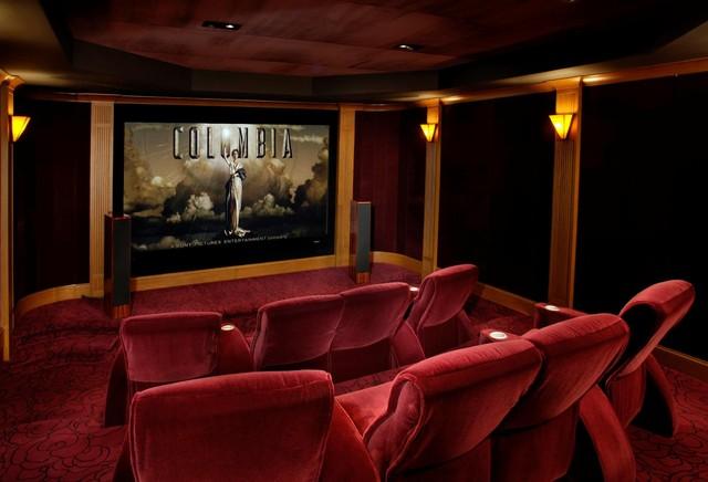 Palo Alto Mediterranean Custom Home mediterranean-home-theater
