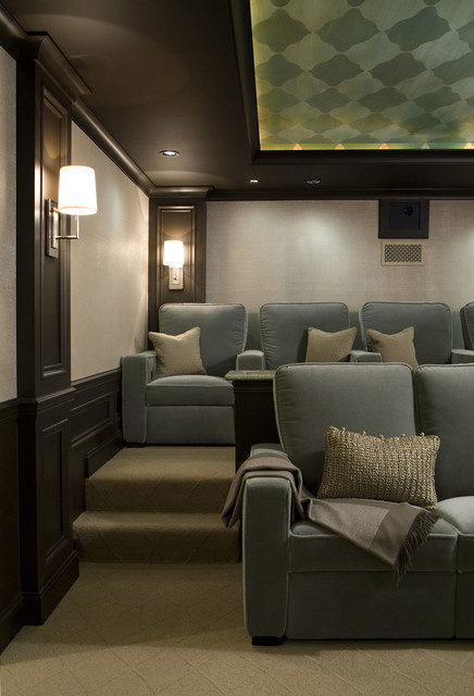 Palos park large single family home transitional home theater chicago by cmr interiors - Media room design ...