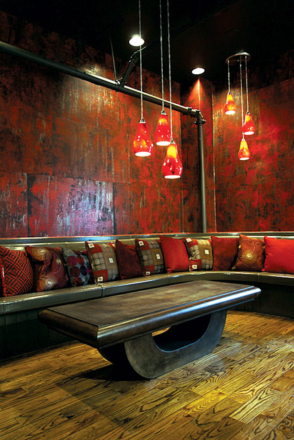 Pattern: Red 9 modern media room