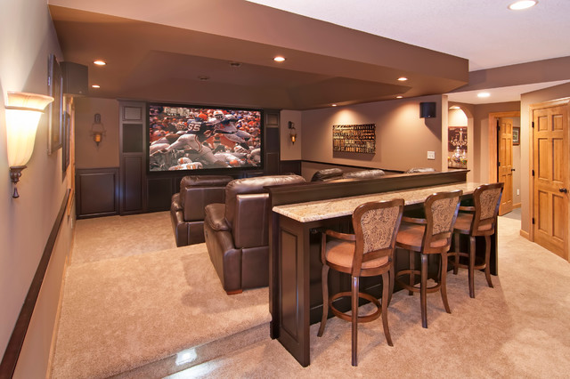 Example Of A Large Clic Enclosed Carpeted Home Theater Design In Minneapolis With Brown Walls And