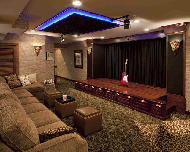 Great Trendy Home Theater Photo In Philadelphia With Beige Walls, Carpet, A  Projector Screen And Home Design Ideas