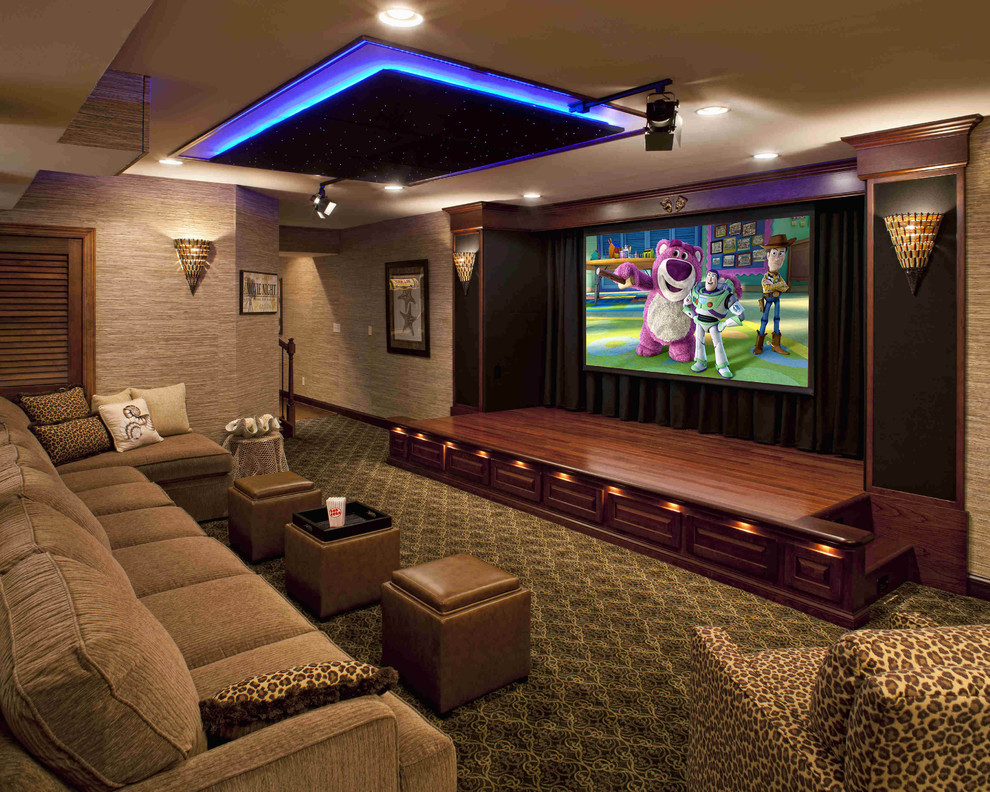 Inspiration for a large timeless open concept carpeted and multicolored floor home theater remodel in Philadelphia with a projector screen and gray walls
