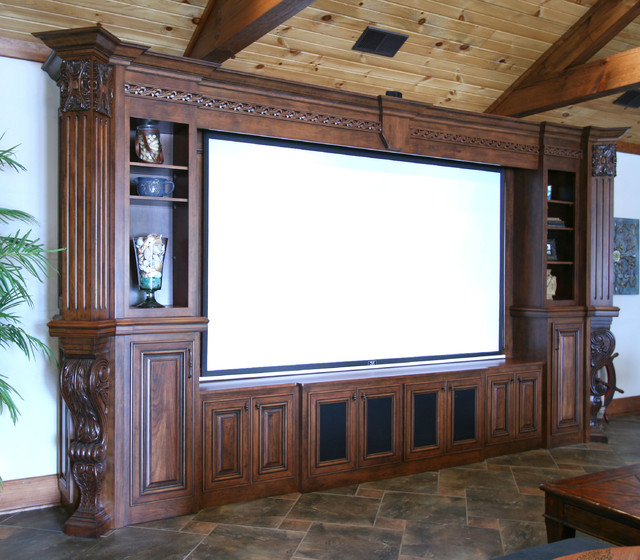 Pool House & Man Cave Combination - traditional - media room ...
