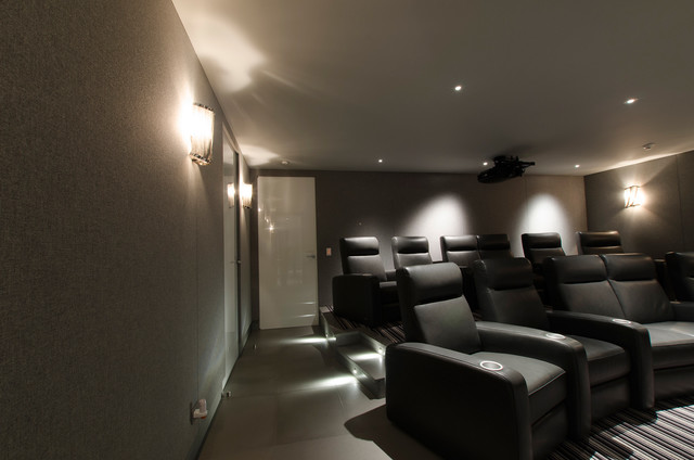 port led square wall floor recessed by edge lighting contemporary home theater chicago. Black Bedroom Furniture Sets. Home Design Ideas