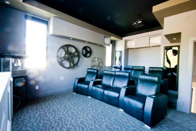 Porter Court Coastal Home transitional-home-theater