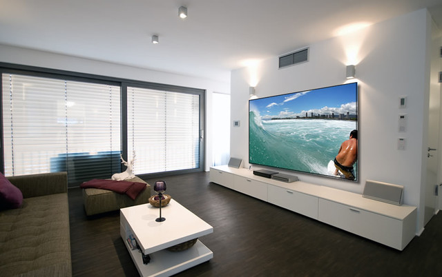 Projector Screens, Mirror TV's & Creative TV Mounts - Modern - Home Theater - Miami - by Control ...