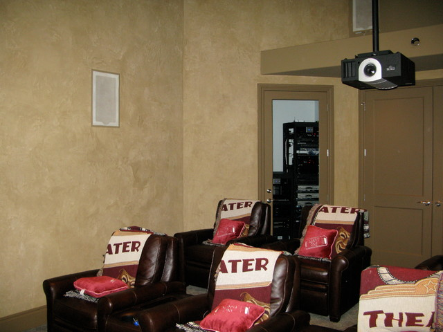 Provencal Plaster in a Media Room mediterranean-home-theater