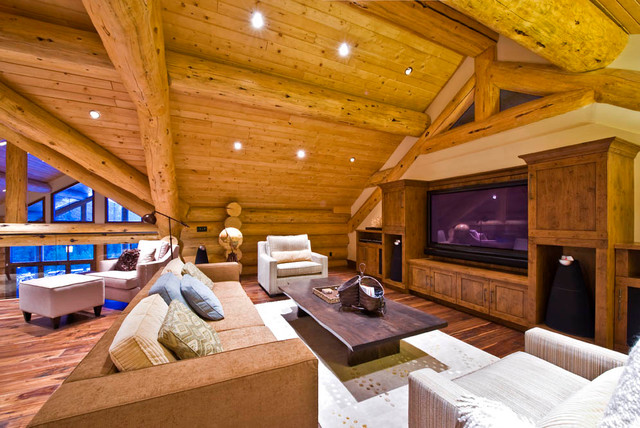 Ranch log home traditional-home-theater