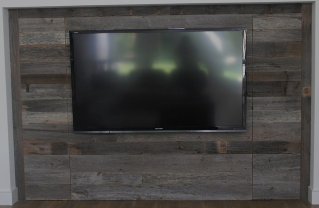 Reclaimed Barn Wood Contemporary Home Theater Dallas
