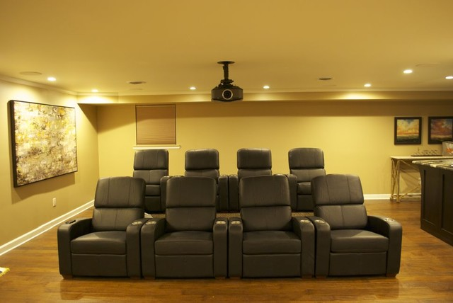 Renovated Home Theater and Bar contemporary-home-theater