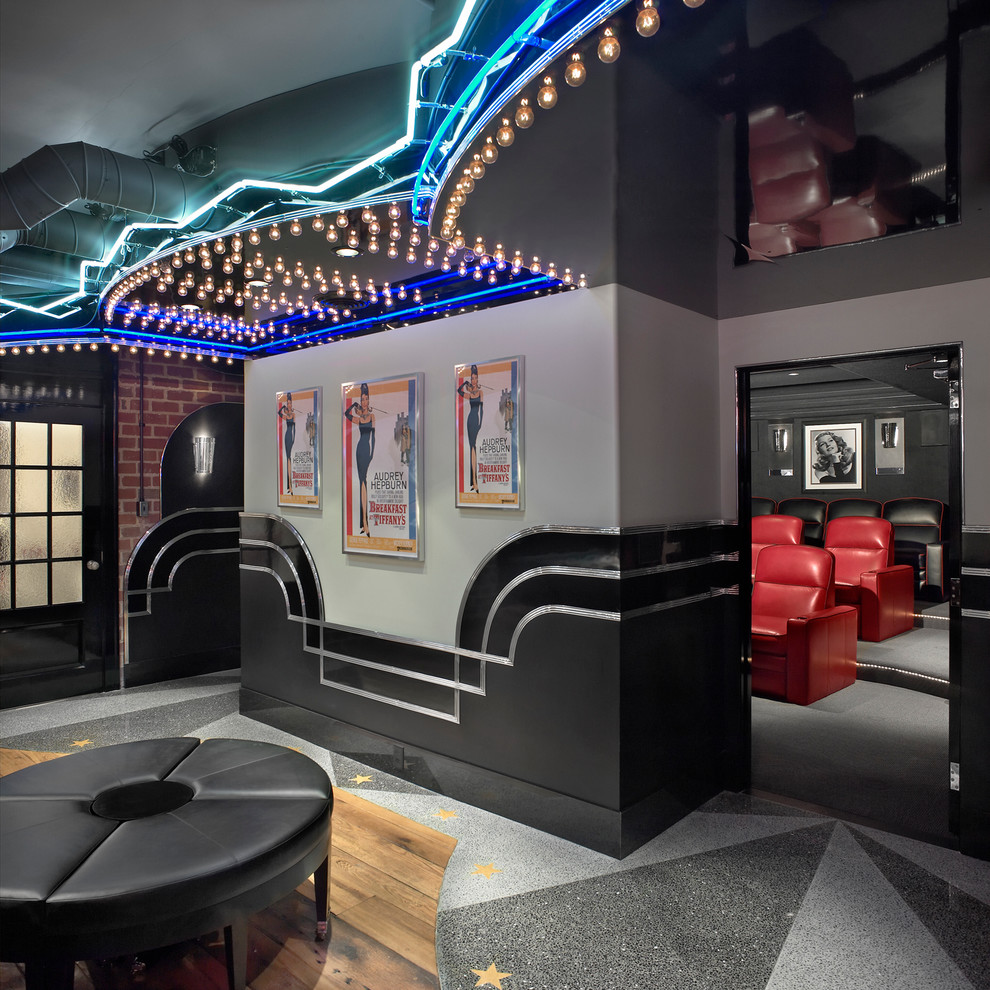 Example of a classic home theater design in Cleveland with gray walls