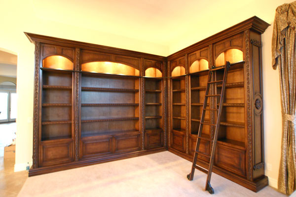 rolling library ladders home theater - Building A Home Library